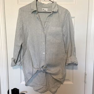 GAP Boyfriend fit sage striped shirt